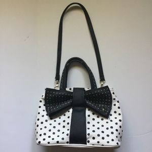 Betsey Johnson white with black polka dots purse